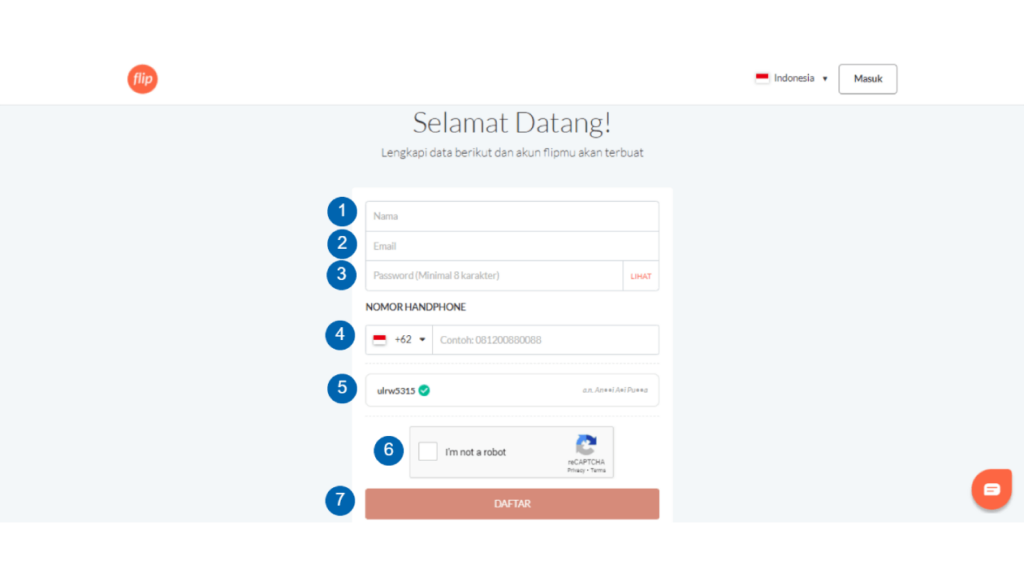 Membuat Akun Flip Melalui Website